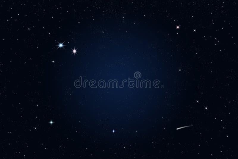Nuit étoilée, étoile filante illustration libre de droits