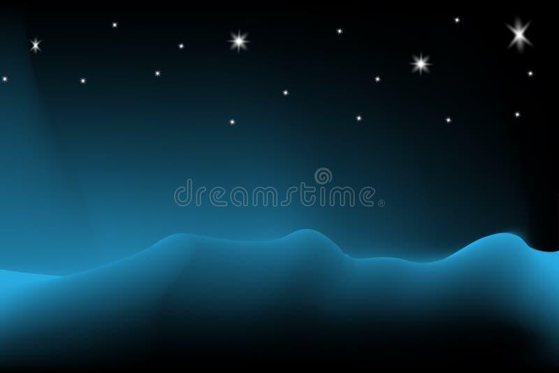Nuit étoilée de fond noir frais vibrant à polaire, vue de nuit de paysage illustration stock