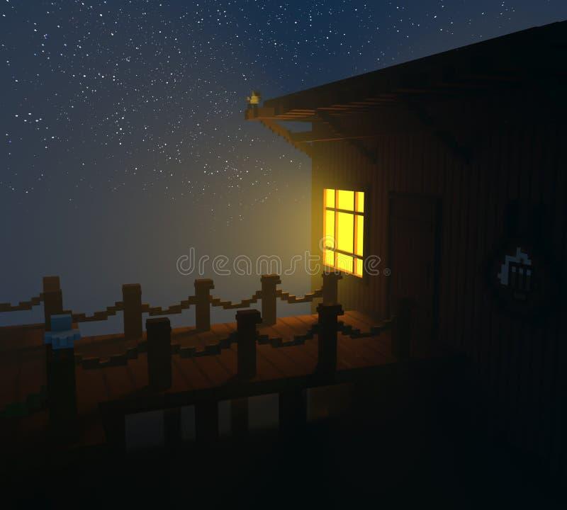 Nuit étoilée et le pilier illustration de vecteur