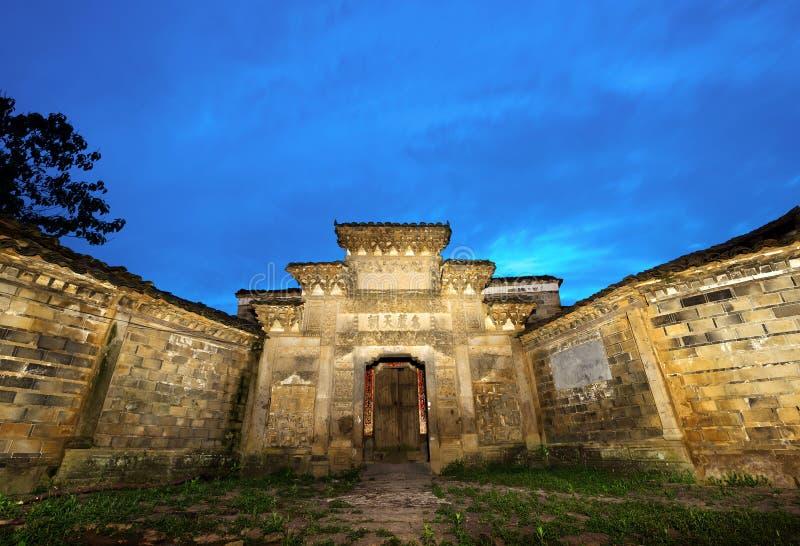 Nuit antique chinoise d'architecture photo libre de droits