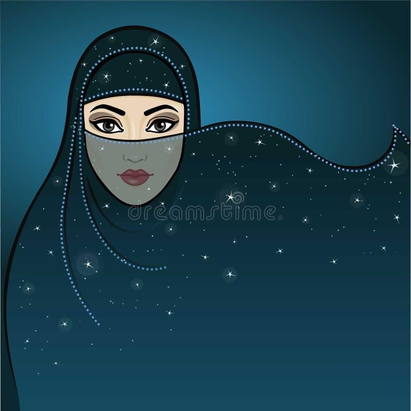 Nuit arabe La princesse arabe d'animation dans un voile illustration stock