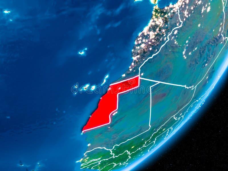 Nuit au-dessus de la Sahara occidental illustration stock