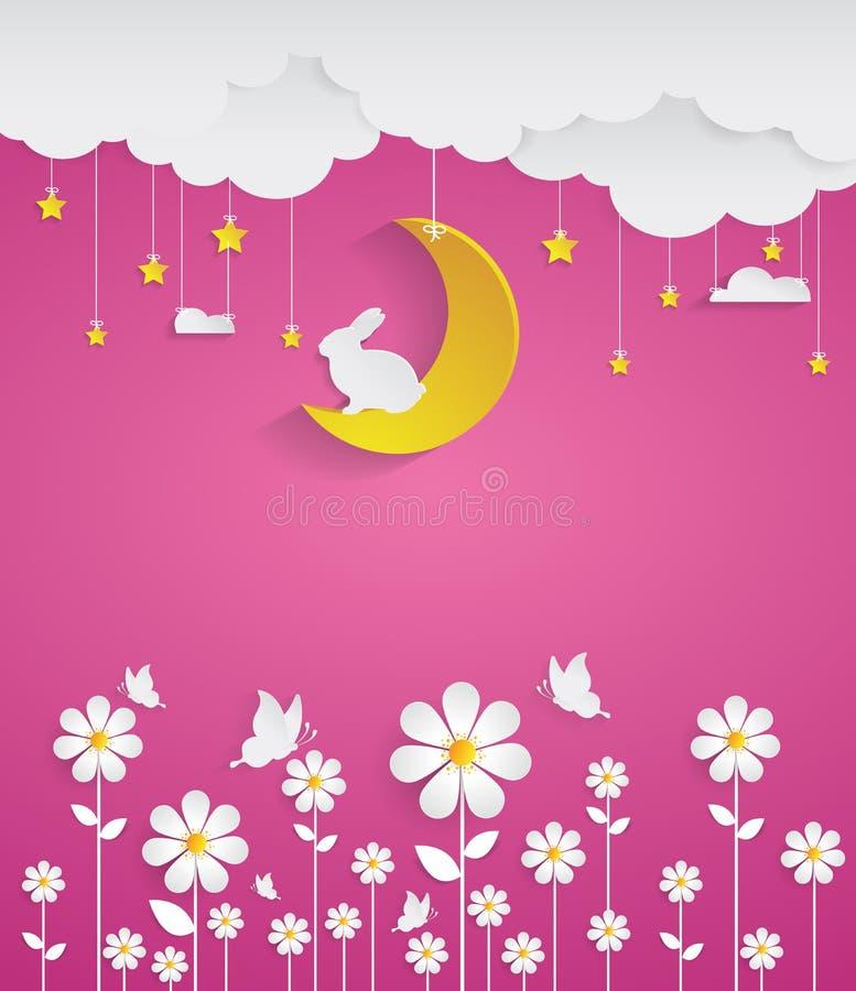 Nuit avec les fleurs et le fond rose illustration de vecteur