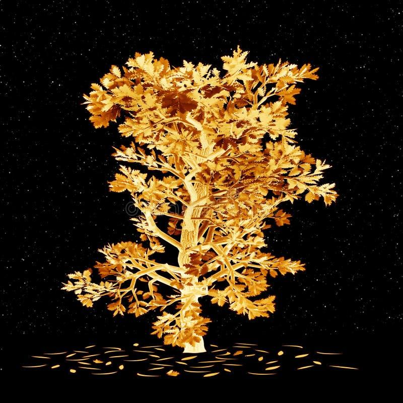Nuit. Chêne d'or illustration de vecteur