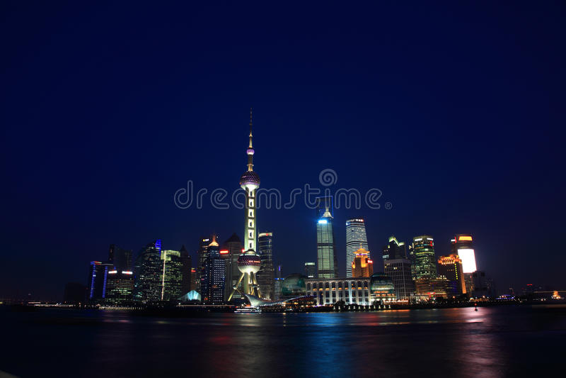 Nuit Changhaï photo stock