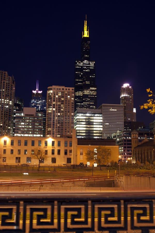 Nuit Chicago Photos libres de droits