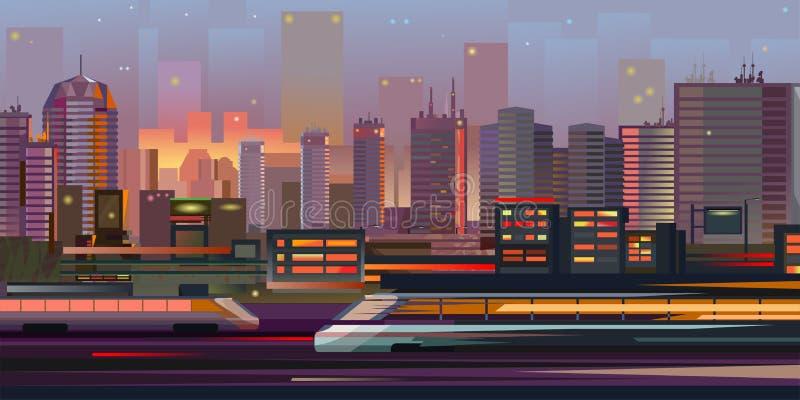 Nuit Cityscape Lumières nocturnes La nuit du paysage urbain Une grande ville moderne pour une vie confortable, un travail et des  illustration de vecteur