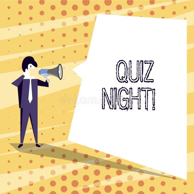 Nuit conceptuelle de jeu-concours d'apparence d'écriture de main Concurrence de la connaissance d'essai de soirée des textes de p illustration stock