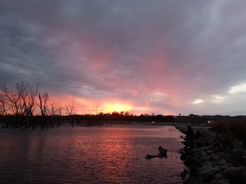 Nuit d'été de lac Wanahoo photographie stock