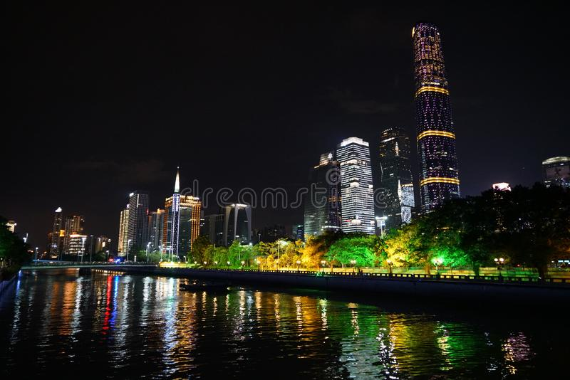 Nuit d'été de rivière de Zhoujiang photos stock
