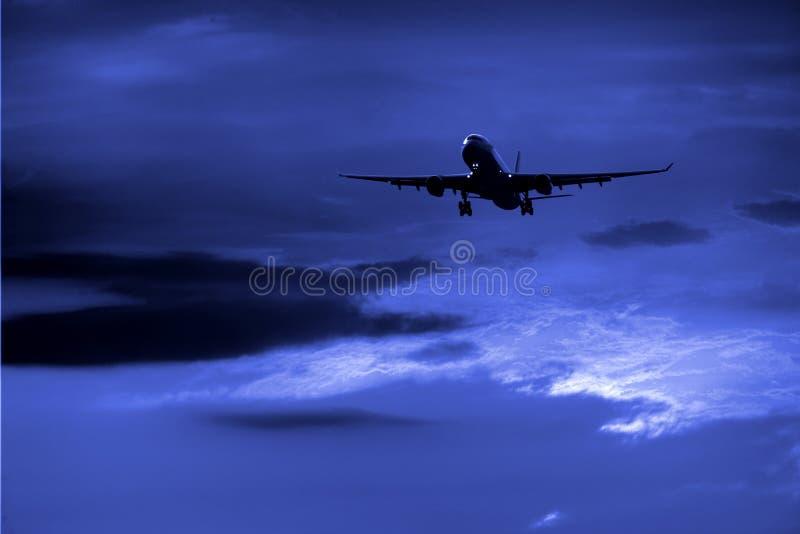 nuit d'avion image stock