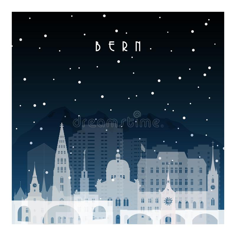 Nuit d'hiver à Berne illustration de vecteur