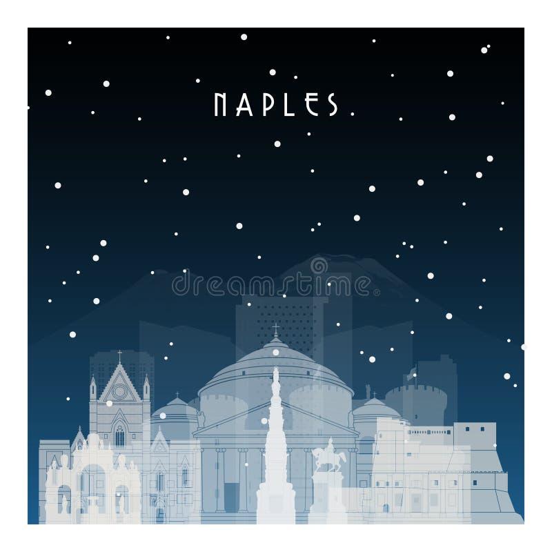 Nuit d'hiver à Naples illustration stock