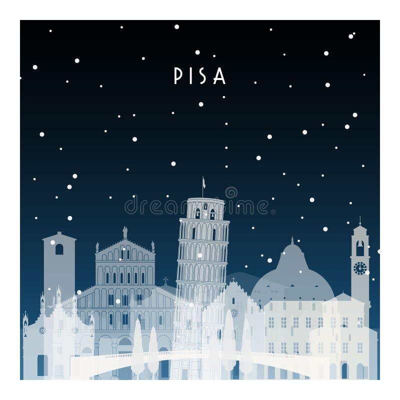 Nuit d'hiver à Pise illustration stock