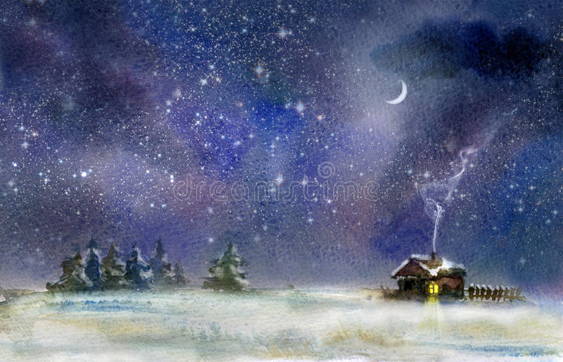 Nuit d'hiver illustration stock