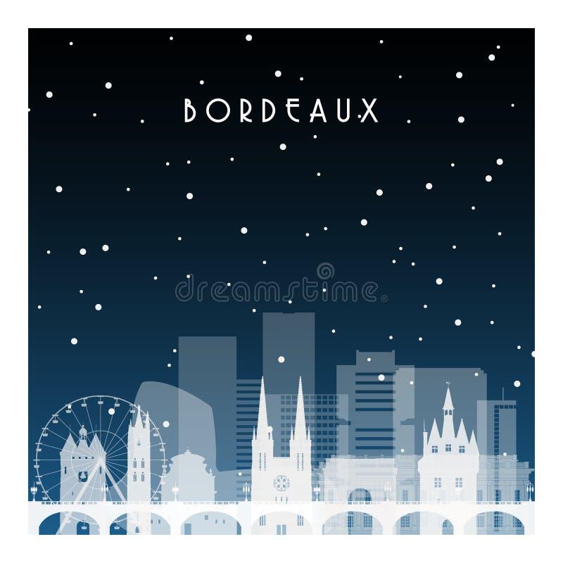 Nuit d'hiver en Bordeaux illustration de vecteur