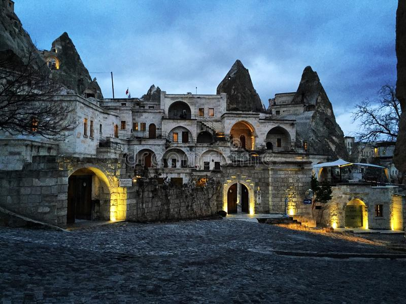 Nuit dans Cappadocia images stock
