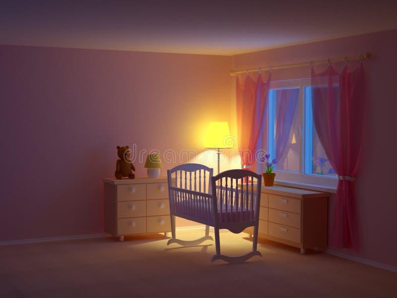 Nuit de berceau de pièce de bébé illustration de vecteur