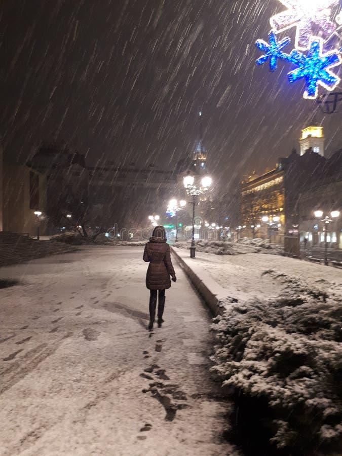 Nuit de décembre en Europe centrale images libres de droits