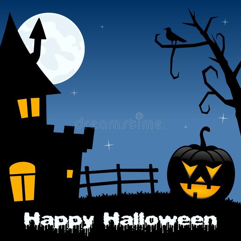 Nuit de Halloween - Chambre hantée par potiron illustration de vecteur