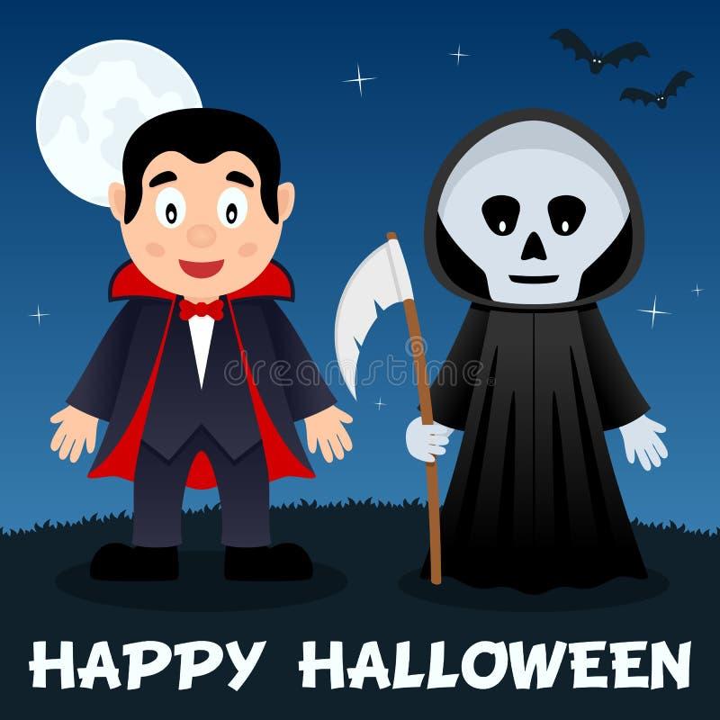 Nuit de Halloween - Dracula et faucheuse illustration stock