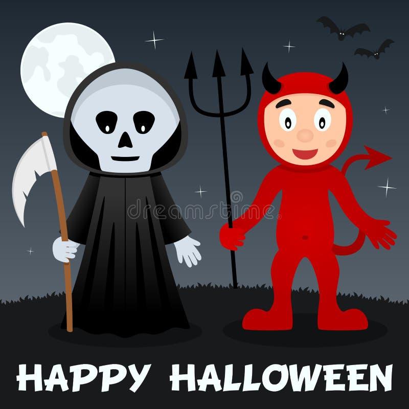 Nuit de Halloween - faucheuse et diable rouge illustration de vecteur