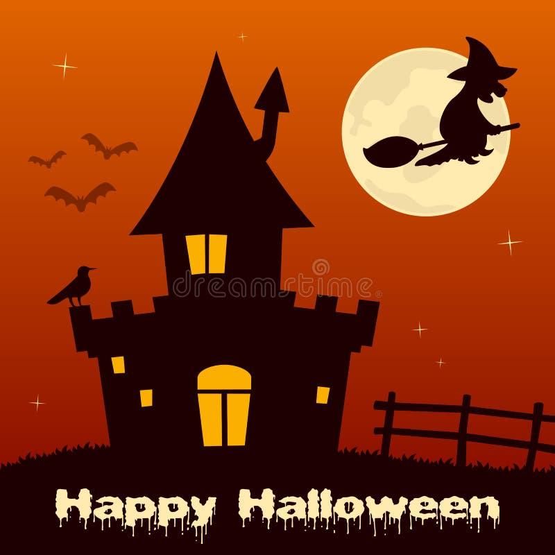 Nuit de Halloween - sorcière et Chambre hantée illustration stock