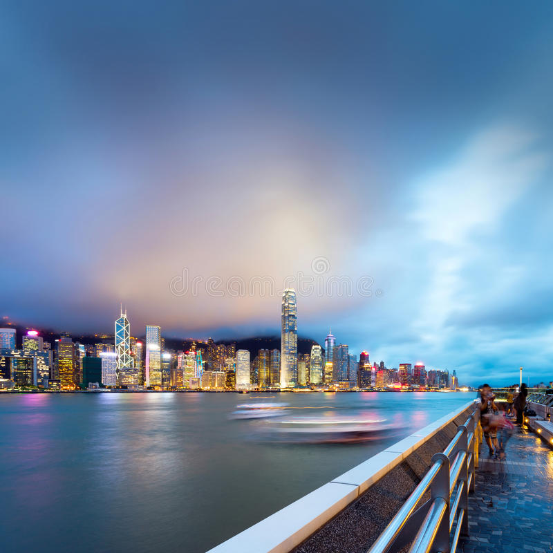 Nuit de Hong Kong images libres de droits