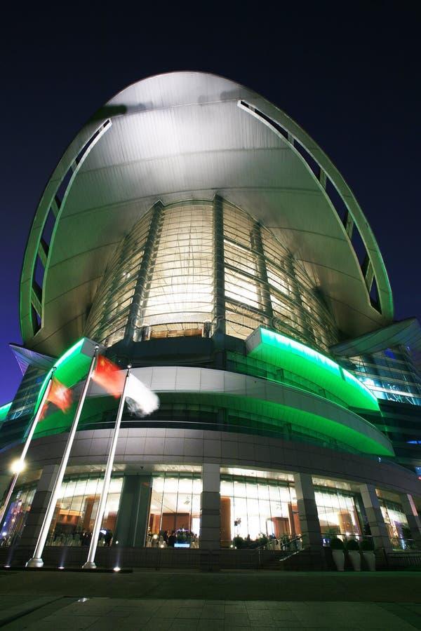 nuit de Hong Kong d'exposition de convention de centre images stock
