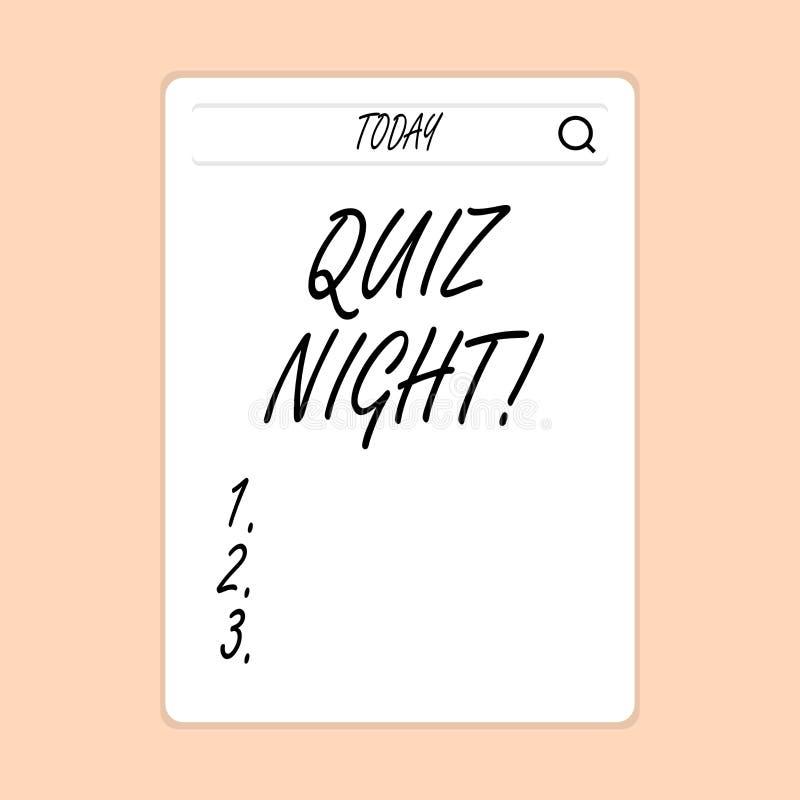 Nuit de jeu-concours d'écriture des textes d'écriture Concept signifiant la concurrence de la connaissance d'essai de soirée entr illustration libre de droits