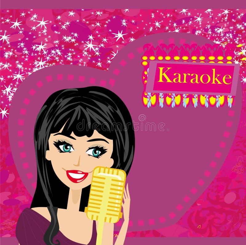 Nuit de karaoke, illustration abstraite avec le microphone et chanteur illustration stock