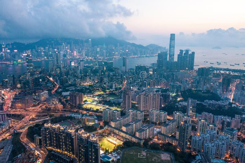Nuit de Kowloon, Hong Kong images stock