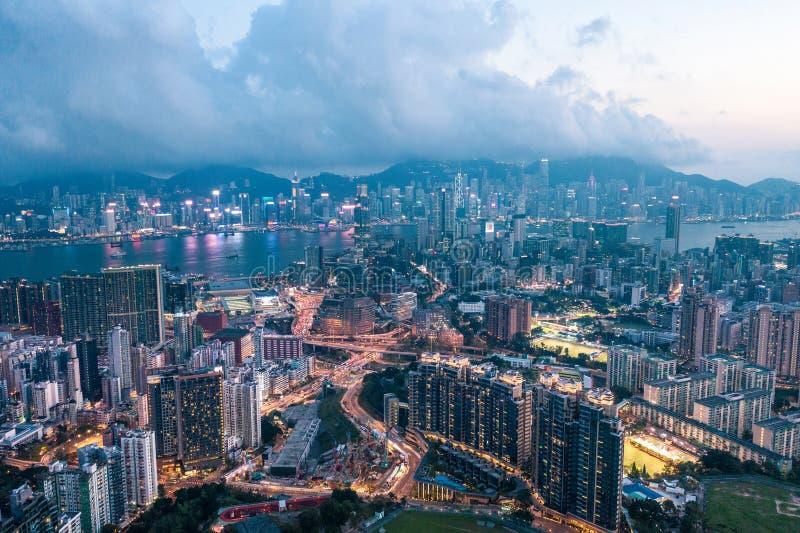Nuit de Kowloon, Hong Kong photos stock