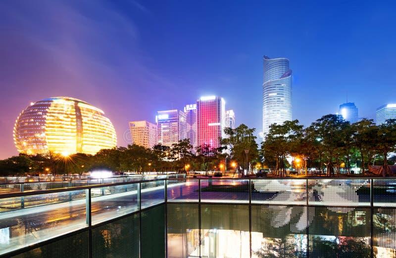 Nuit de la Chine Hangzhou photographie stock libre de droits