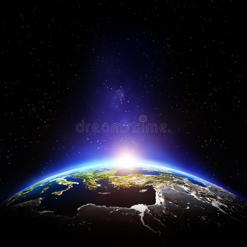 Nuit de la terre de planète illustration stock