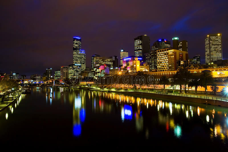 nuit de Melbourne photo libre de droits