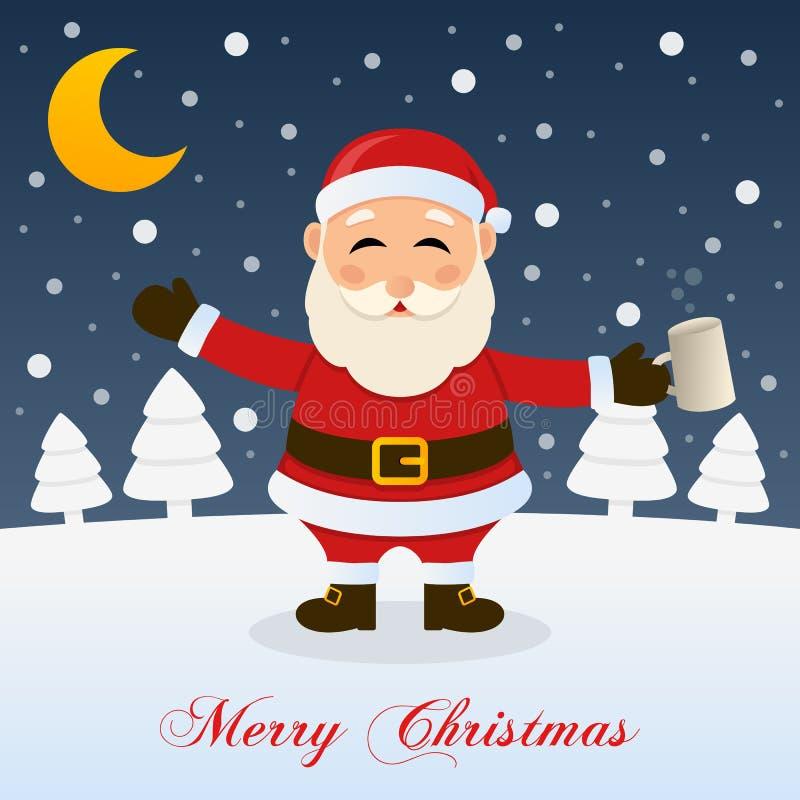 Nuit de Noël avec Santa Claus ivre illustration stock