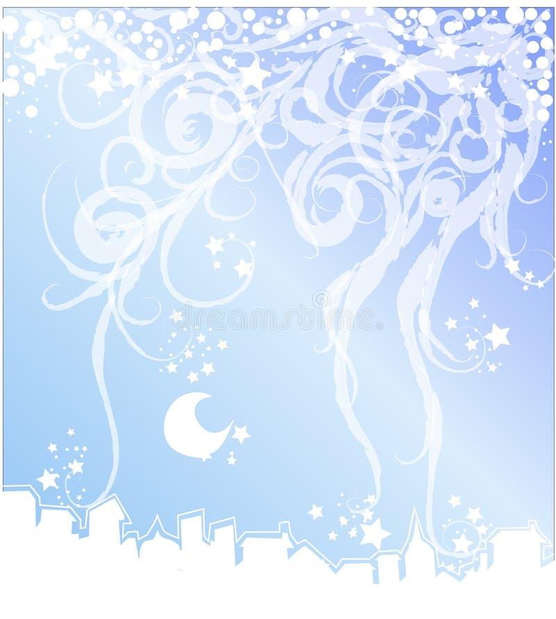 Nuit de Noël héritant la ville illustration de vecteur