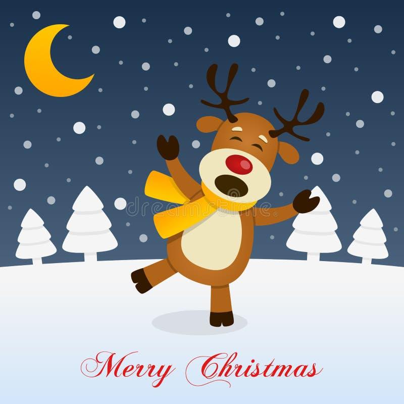 Nuit de Noël sainte avec un renne heureux illustration libre de droits