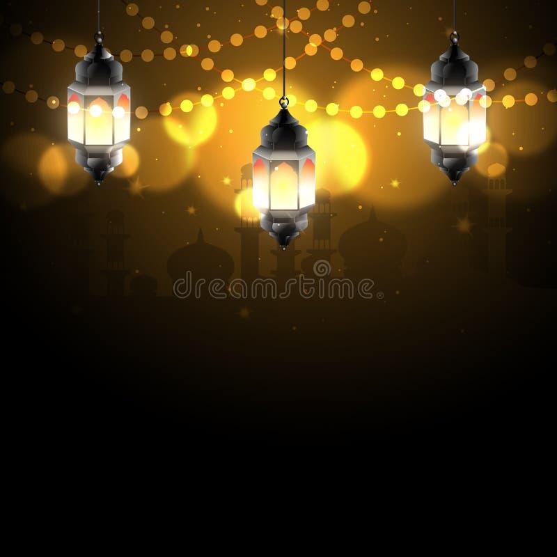 Nuit de Ramadan avec la lumière de bokeh illustration libre de droits