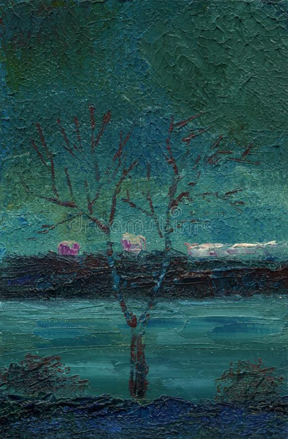 Nuit de ressort sur le rivage du lac de ville Peinture à l'huile sur le canv illustration libre de droits