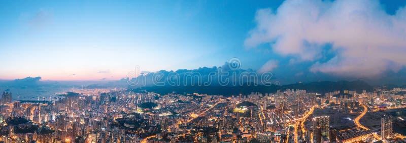 Nuit de secteur de Kowloon, Hong Kong photo stock