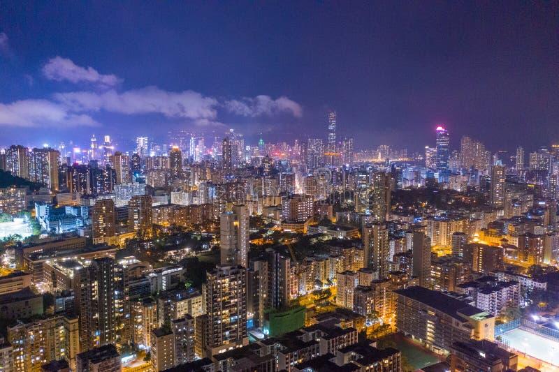 Nuit de secteur de Kowloon, Hong Kong photo libre de droits