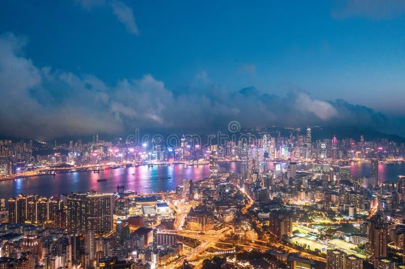 Nuit de secteur de Kowloon, Hong Kong photographie stock libre de droits