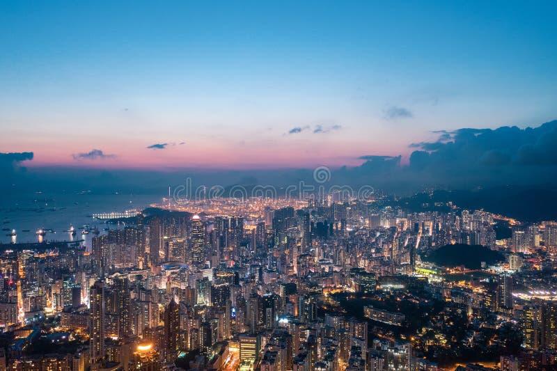 Nuit de secteur de Kowloon, Hong Kong images libres de droits