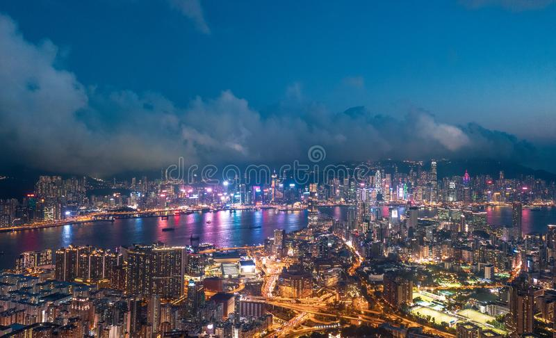 Nuit de secteur de Kowloon, Hong Kong photographie stock
