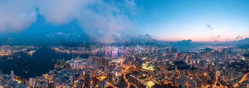 Nuit de secteur de Kowloon, Hong Kong photos stock