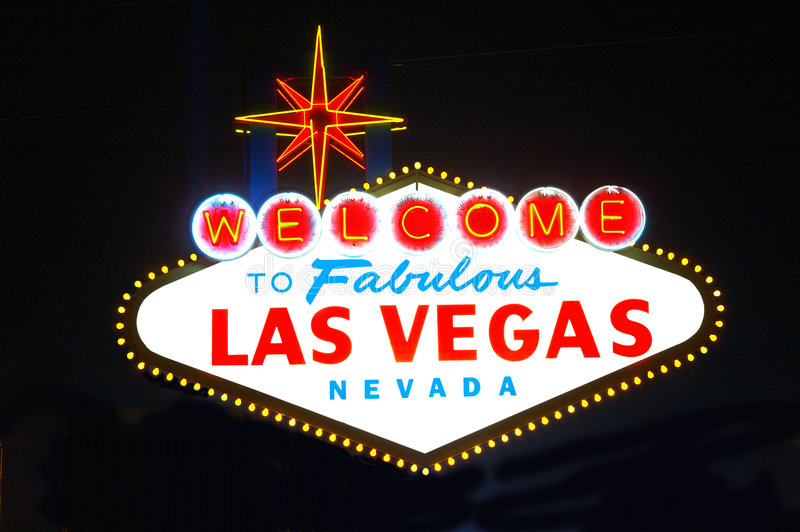 Nuit de signe de Las Vegas photo libre de droits