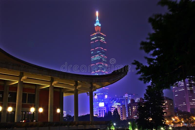 Nuit de Sun Yat-sen hall commémoratif Taïpeh Taiwan photos stock