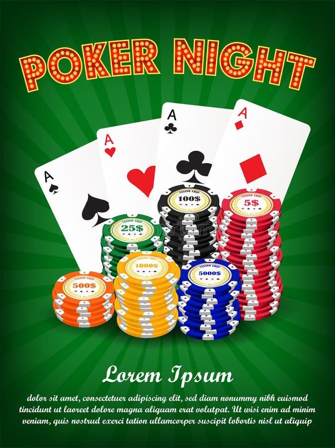 Nuit de tisonnier de casino avec la carte et les puces de costume illustration libre de droits